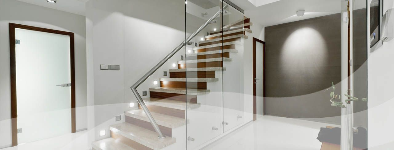 Stairs, fittings for glass doors